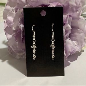 """Forever"" Script Writing Fashion Dangle Earrings"